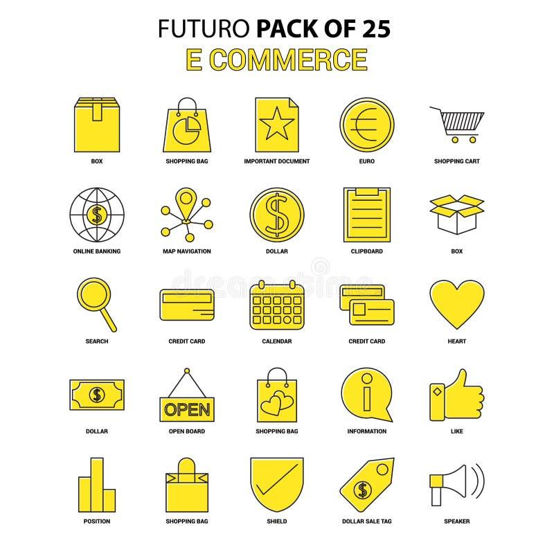 Het pictogramreeks van de elektronische handel Het gele Pak van het het Ontwerppictogram van Futuro Recentste stock illustratie