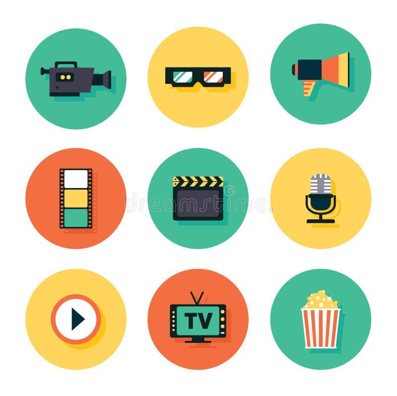 Het pictogramreeks van de film royalty-vrije illustratie