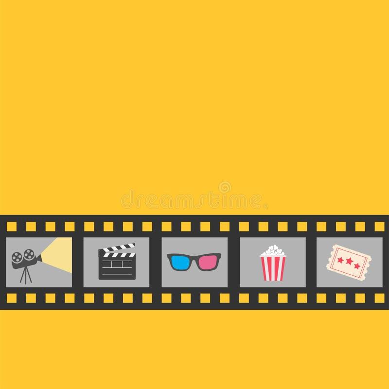 Het pictogramreeks van de filmstrook Popcorn, kleppenraad, 3D glazen, kaartje, projector De nacht van de bioskoopfilm Gele achter royalty-vrije illustratie