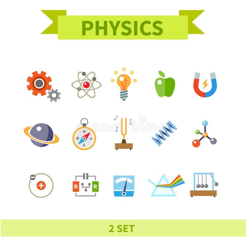 Het pictogramreeks van de fysica vlakke kleur vector illustratie
