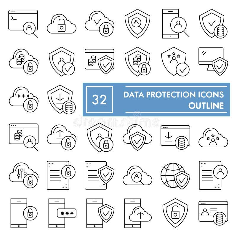 Het pictogramreeks van de gegevensbescherming dunne lijn, de symboleninzameling van de computerveiligheid, vectorschetsen, emblee stock illustratie