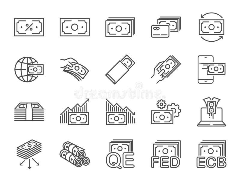 Het pictogramreeks van de geldlijn Inbegrepen pictogrammen als contant geld, passief inkomen, bank, bankbiljet, munt en meer vector illustratie