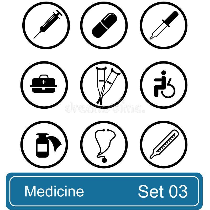 Het pictogramreeks van de geneeskunde royalty-vrije illustratie