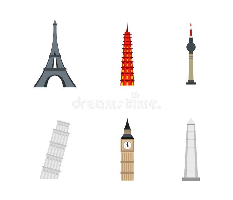 Download Het Pictogramreeks Van De Geschiedenistoren, Vlakke Stijl Vector Illustratie - Illustratie bestaande uit architectuur, aantrekkelijkheid: 107707200