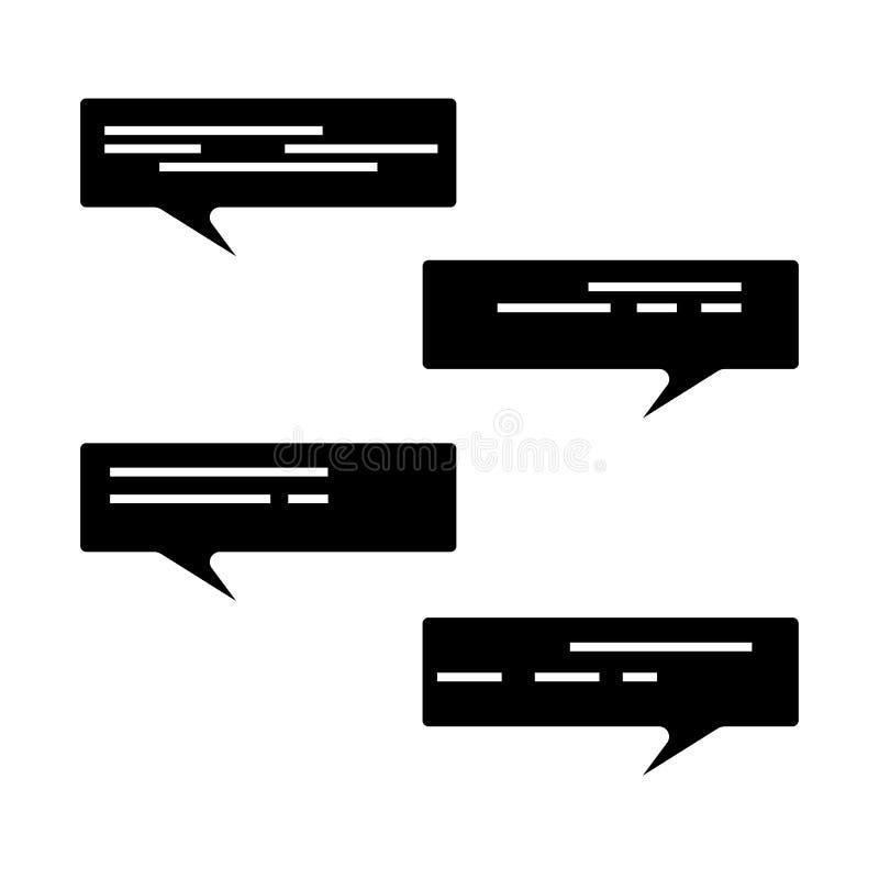 Het pictogramreeks van de Glyphtoespraak Praatjesymbool Dialoog, het babbelen, mededeling royalty-vrije illustratie