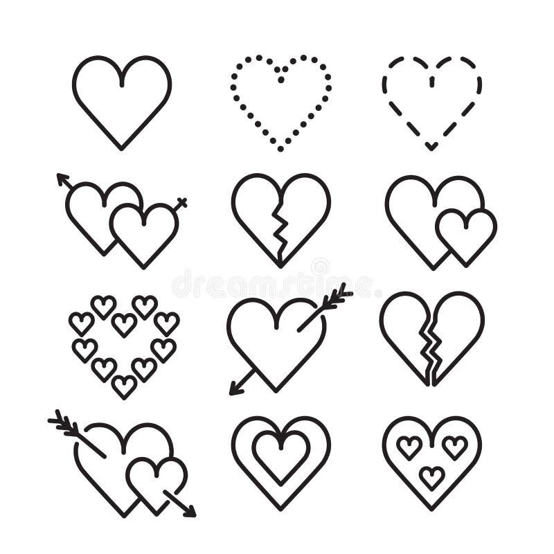 Het pictogramreeks van de hartlijn Vector illustratie royalty-vrije stock foto's
