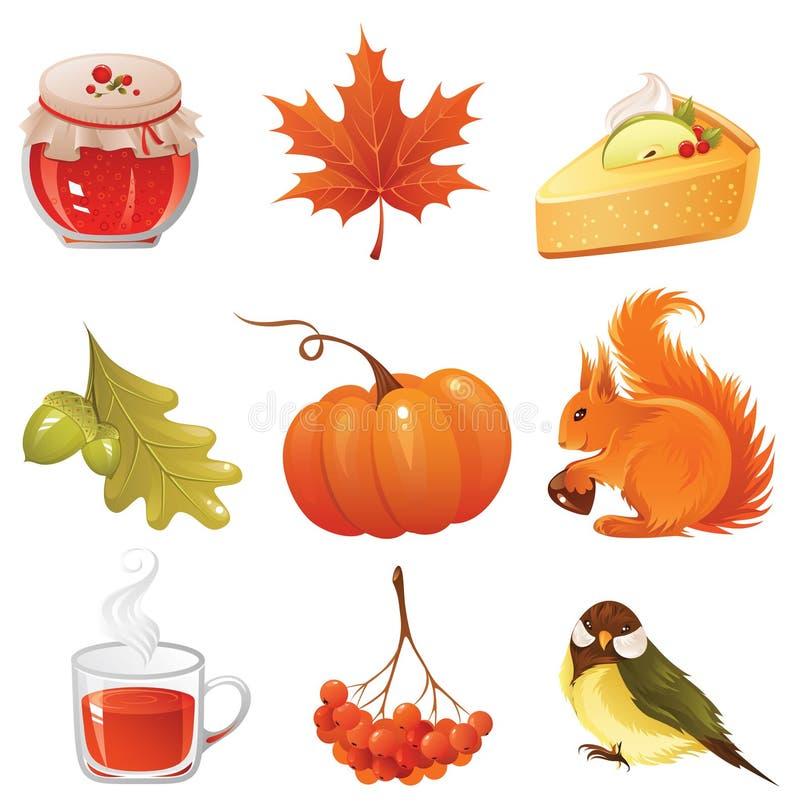 Het pictogramreeks van de herfst royalty-vrije illustratie