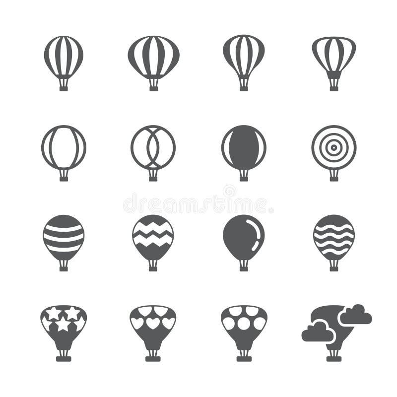 Het pictogramreeks van de hete luchtballon stock illustratie
