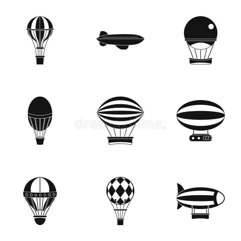Het pictogramreeks van de hete luchtballon, eenvoudige stijl royalty-vrije illustratie