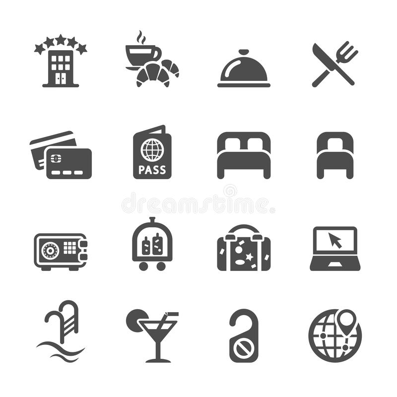 Het pictogramreeks van de hoteldienst, vectoreps10 royalty-vrije illustratie