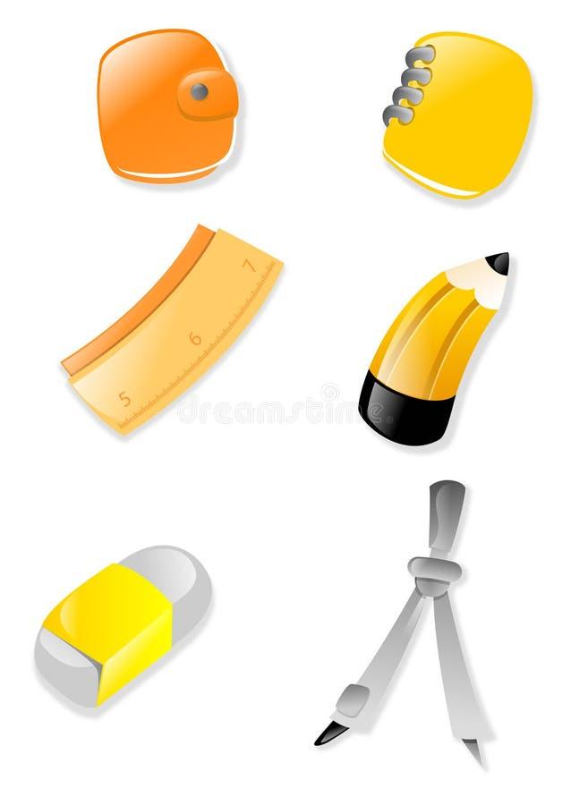 Het pictogramreeks van de kantoorbehoeften vector illustratie