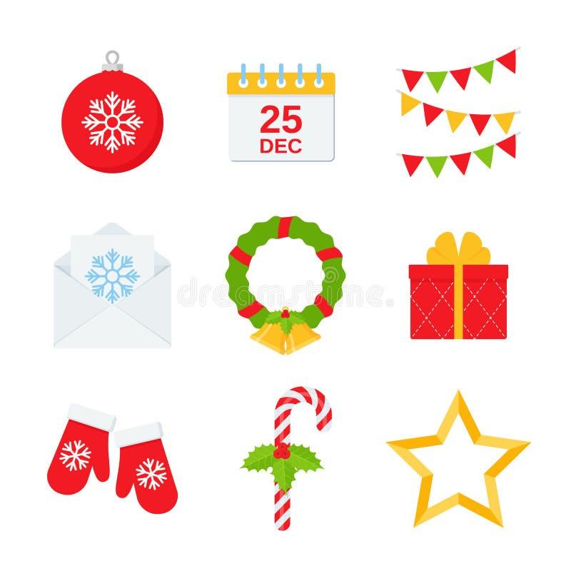 Het pictogramreeks van de Kerstmiswinter Vectorillustratie in vlak ontwerp vector illustratie