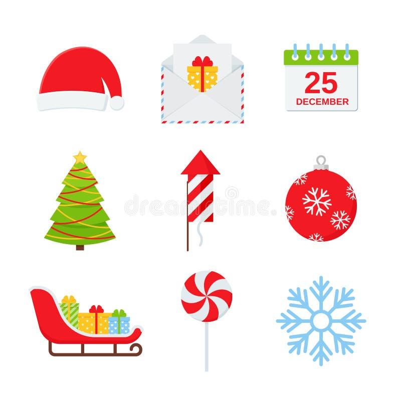 Het pictogramreeks van de Kerstmiswinter Vectorillustratie in vlak ontwerp stock illustratie
