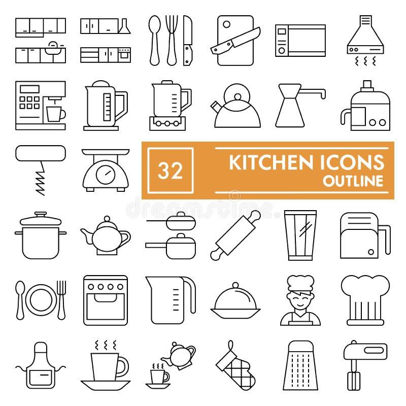 Het pictogramreeks van de keuken ondertekent de dunne lijn, het koken symboleninzameling, vectorschetsen, embleemillustraties, we vector illustratie