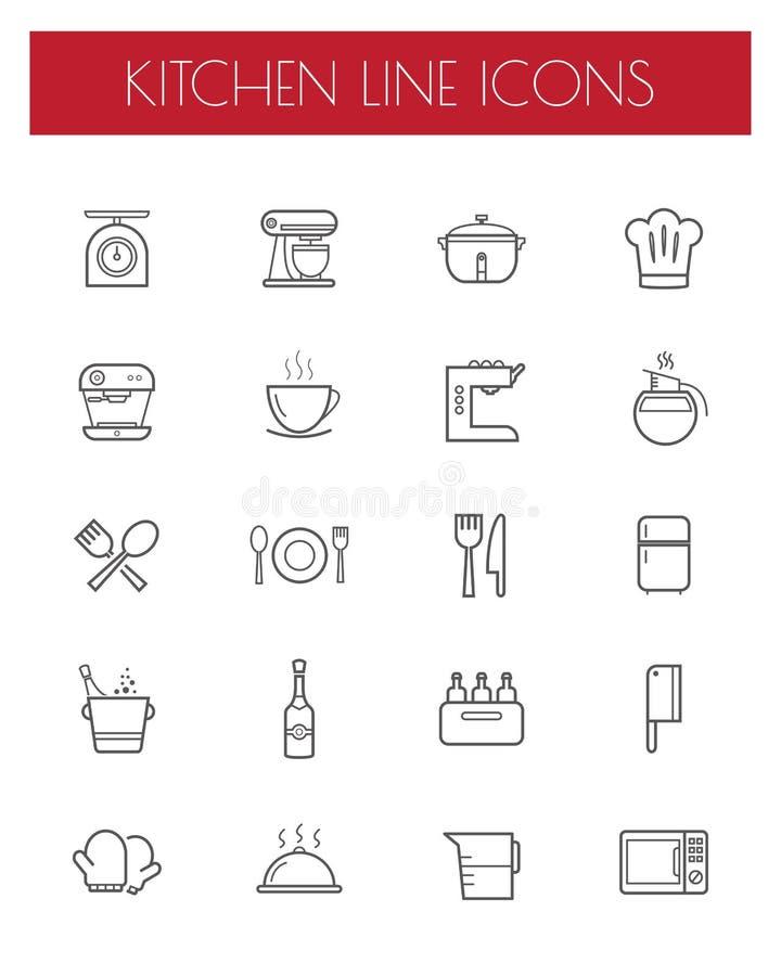 Het pictogramreeks van de keukengereedschaplijn royalty-vrije illustratie