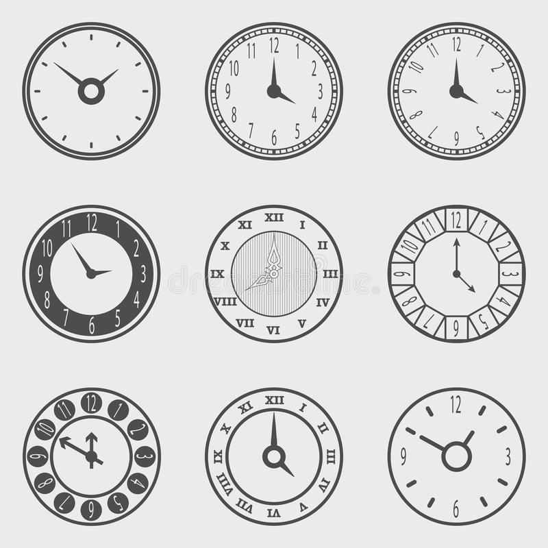 Het pictogramreeks van de klok stock illustratie