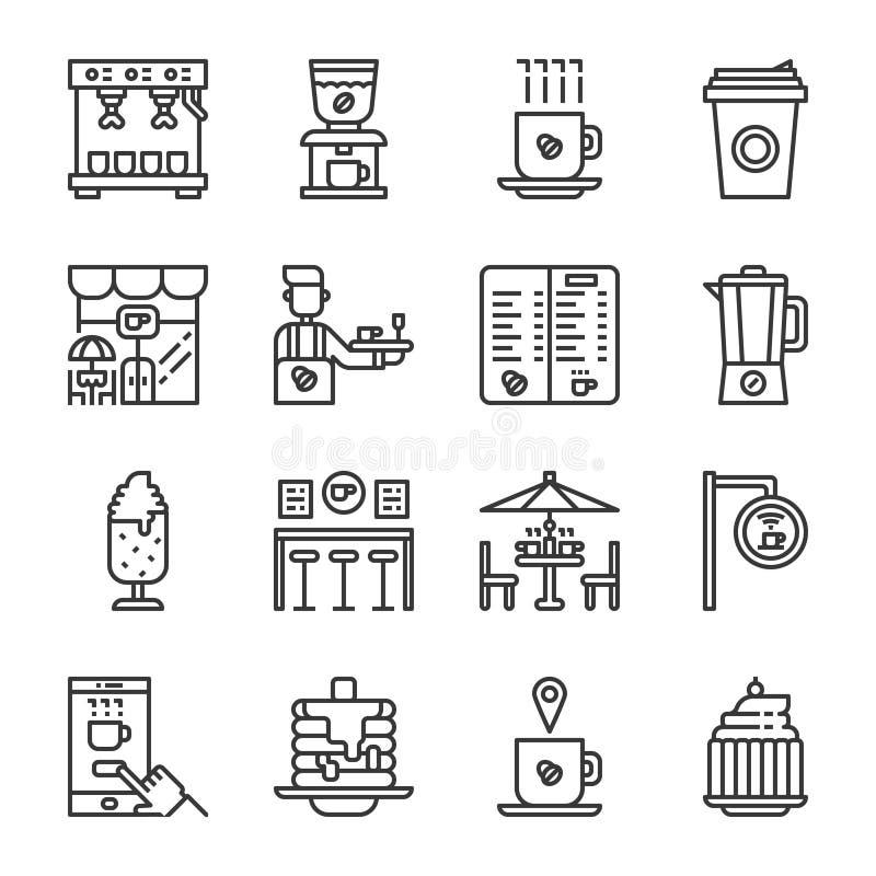 Het pictogramreeks van de koffiewinkel Vector illustratie royalty-vrije illustratie
