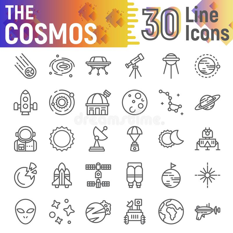 Het pictogramreeks van de kosmoslijn, ruimtesymboleninzameling, vectorschetsen, embleemillustraties, astronomietekens vector illustratie