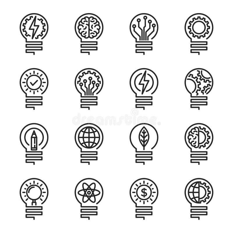 Het pictogramreeks van de Lightbulb dunne lijn Editableslag Vectorillustrati vector illustratie
