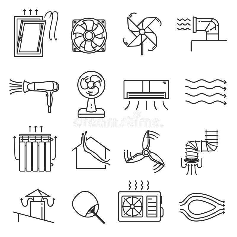 Het pictogramreeks van de luchtstroomlijn royalty-vrije illustratie