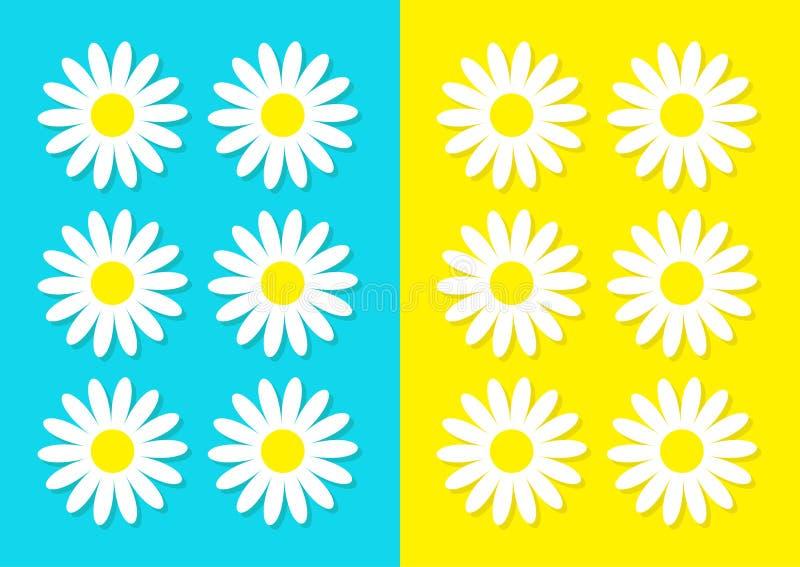 Het pictogramreeks van de margrietkamille De leuke inzameling van de bloeminstallatie De kaart van de liefde Kamille Groeiend con stock illustratie