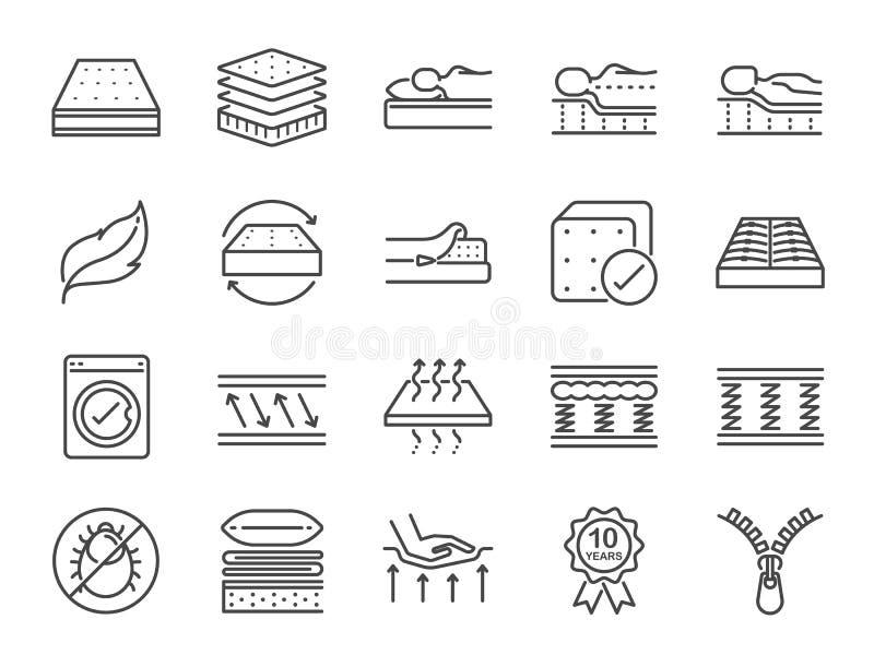 Het pictogramreeks van de matraslijn Omvatte de pictogrammen als wasbare dekking, in te ademen, geheugenschuim, beddegoed, stootk vector illustratie