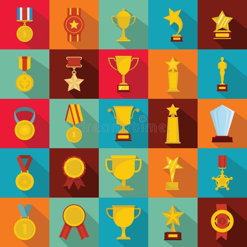 Het pictogramreeks van de medailletoekenning, vlakke stijl stock illustratie
