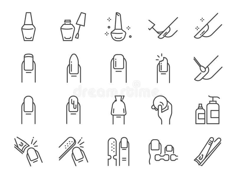Het pictogramreeks van de nagellaksalon Omvatte de pictogrammen als vinger, teenseparator, laag, vlekkenmiddelenstootkussen, glan stock illustratie