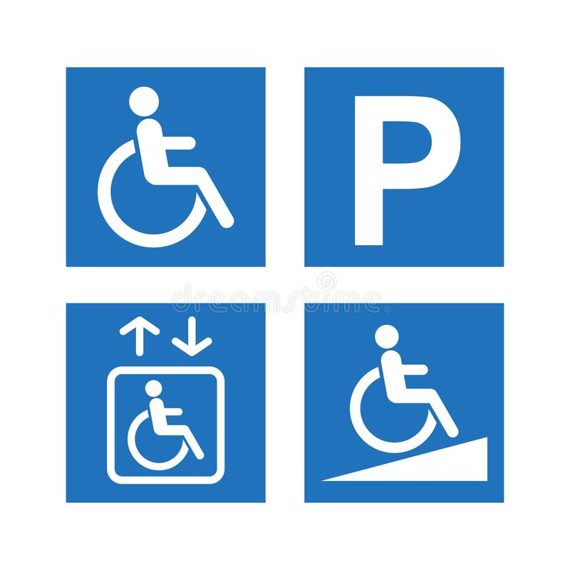 Het pictogramreeks van de onbekwaamheidstoegankelijkheid Gehandicapten, helling en lift blauwe tekens die parkeren stock illustratie