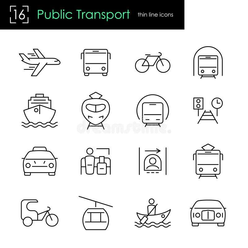 Het pictogramreeks van de openbaar vervoer dunne lijn stock illustratie