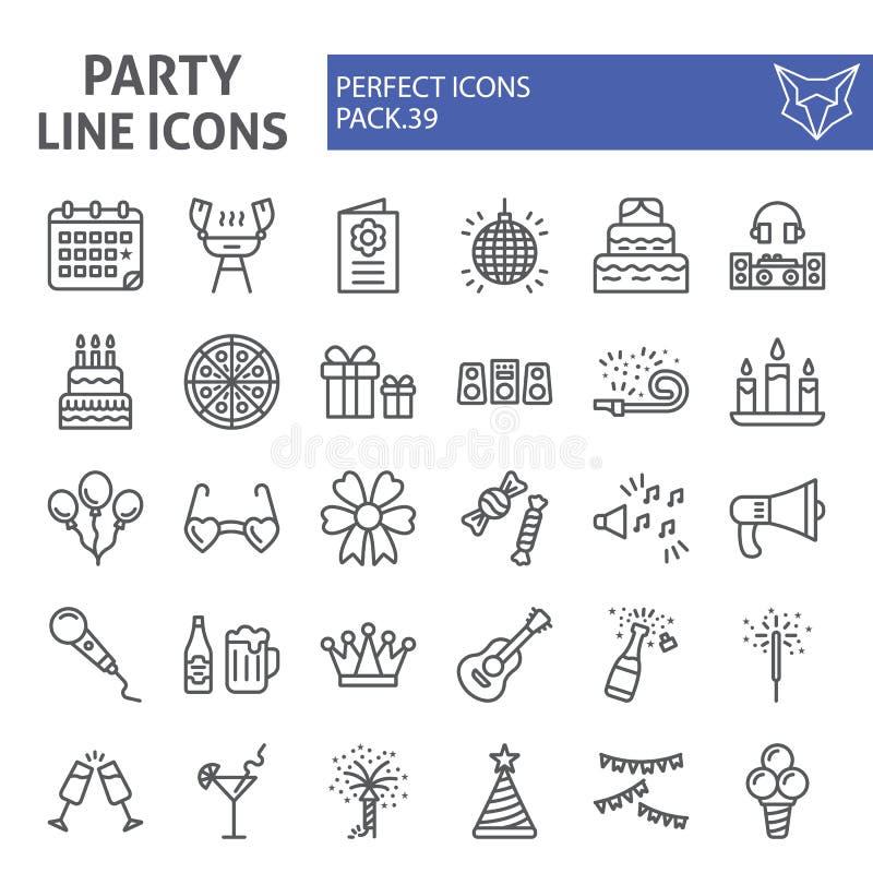 Het pictogramreeks van de partijlijn, de inzameling van vieringssymbolen, vectorschetsen, embleemillustraties, feestelijke lineai stock illustratie