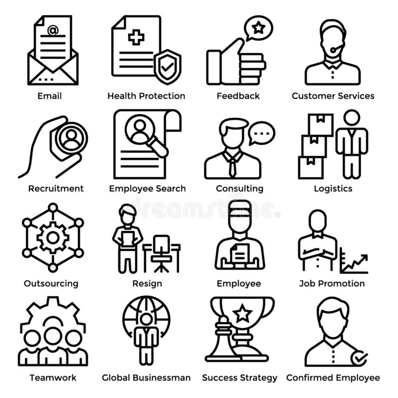 Het pictogramreeks van de personeelslijn stock illustratie