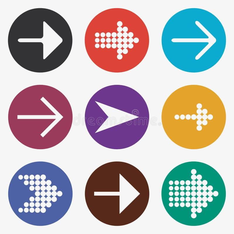 Het pictogramreeks van de pijl Witte gidsen, curseur, kleurrijke knopen met wijzer vector illustratie