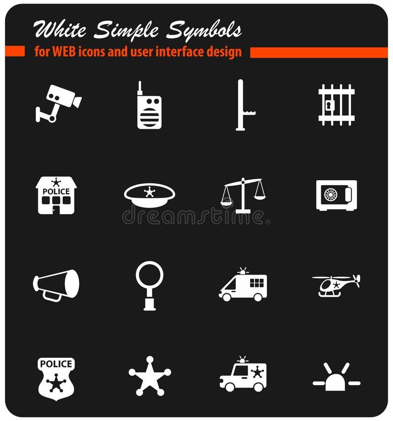 Het pictogramreeks van de politieafdeling vector illustratie