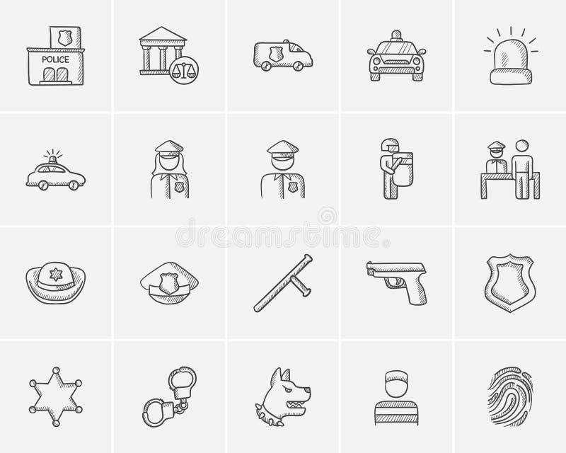 Het pictogramreeks van de politieschets vector illustratie