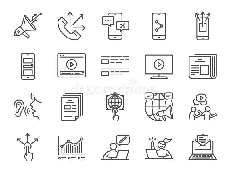 Het pictogramreeks van de reclamelijn Inbegrepen pictogrammen zoals adverteren, online marketing, blogger, influencer, mobiele ma stock illustratie