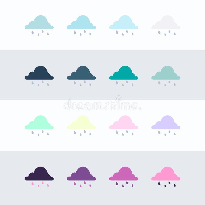 Het pictogramreeks van de regenwolk Vlakke reeks vectordiepictogrammen van de regenwolk voor Webontwerp op achtergrond wordt ge?s royalty-vrije illustratie