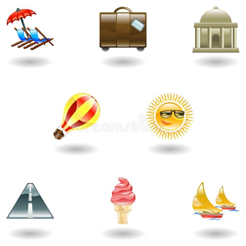 Het pictogramreeks van de reis en van het toerisme royalty-vrije illustratie