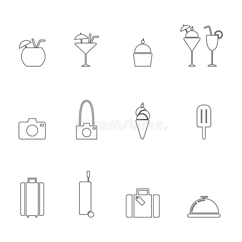 Het pictogramreeks van de reislijn vector illustratie