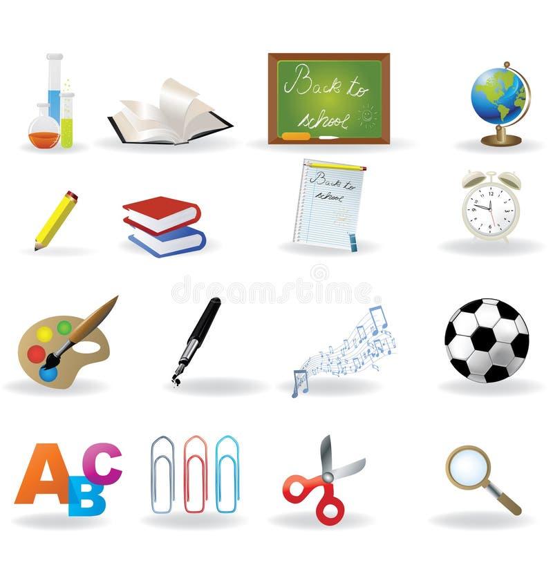 Het pictogramreeks van de school royalty-vrije illustratie