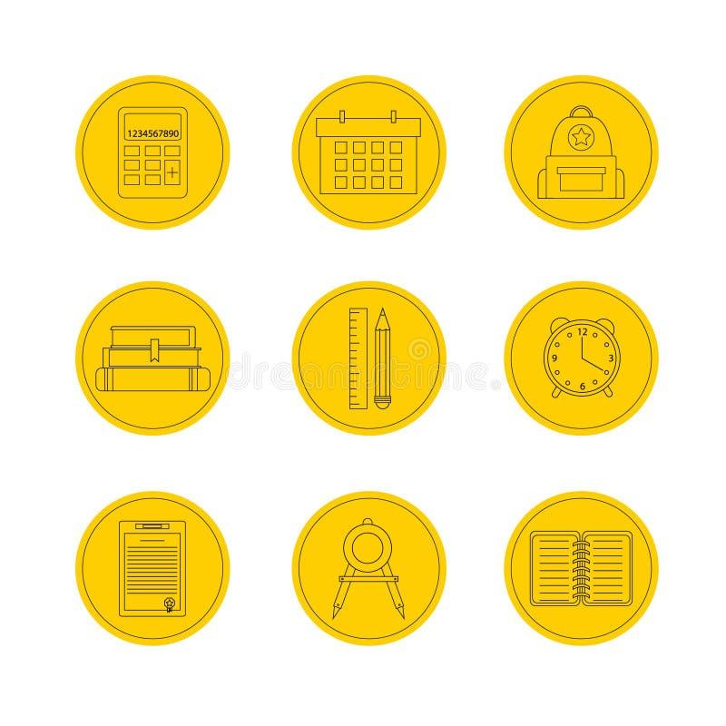 Het pictogramreeks van de school Vectorillustratiepictogrammen stock illustratie