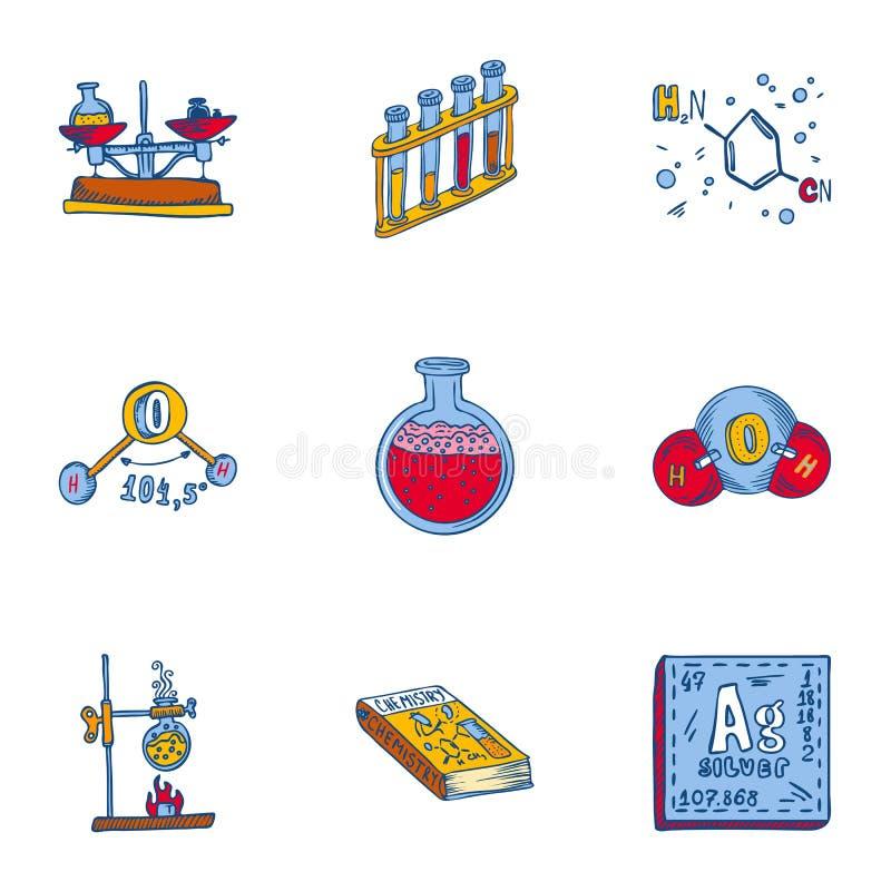 Het pictogramreeks van de schoolchemie, hand getrokken stijl royalty-vrije illustratie