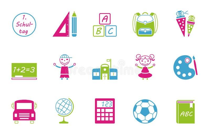 Het pictogramreeks van de schoolinschrijving stock illustratie