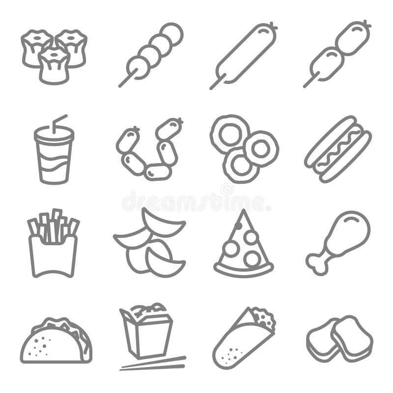 Het pictogramreeks van de snel voedsel vectorlijn Met inbegrip van Chinese noedeldoos, Taco, goudklompjes, spaanders, Broodjes, f vector illustratie