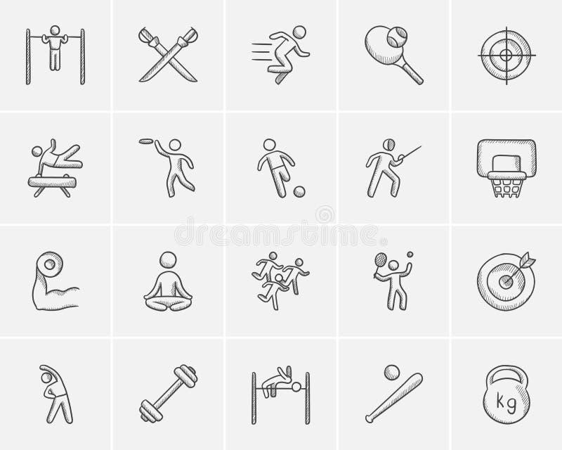 Het pictogramreeks van de sportschets stock illustratie