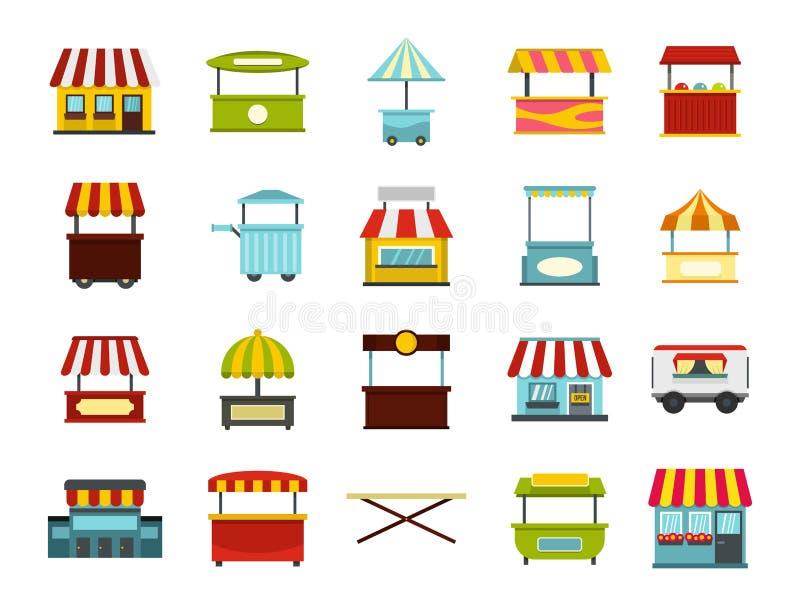 Download Het Pictogramreeks Van De Straatmarkt, Vlakke Stijl Vector Illustratie - Illustratie bestaande uit markt, ontwerp: 107707156