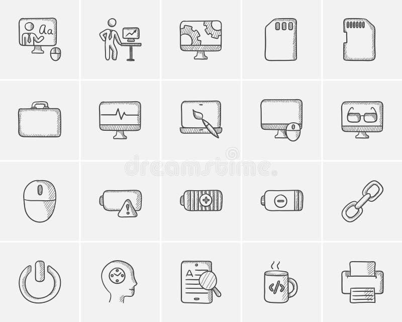 Het pictogramreeks van de technologieschets royalty-vrije illustratie