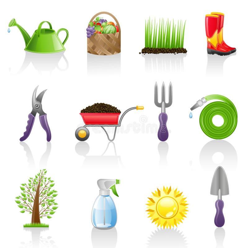 Het pictogramreeks van de tuin stock illustratie
