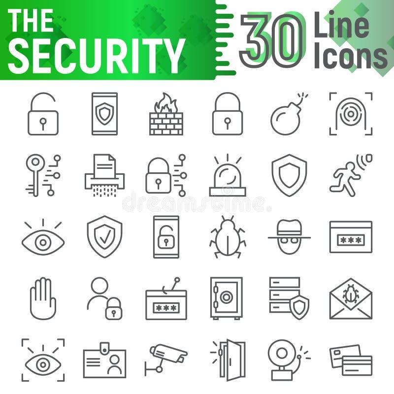 Het pictogramreeks van de veiligheidslijn, de inzameling van beschermingssymbolen, vectorschetsen, embleemillustraties, defensiet stock illustratie