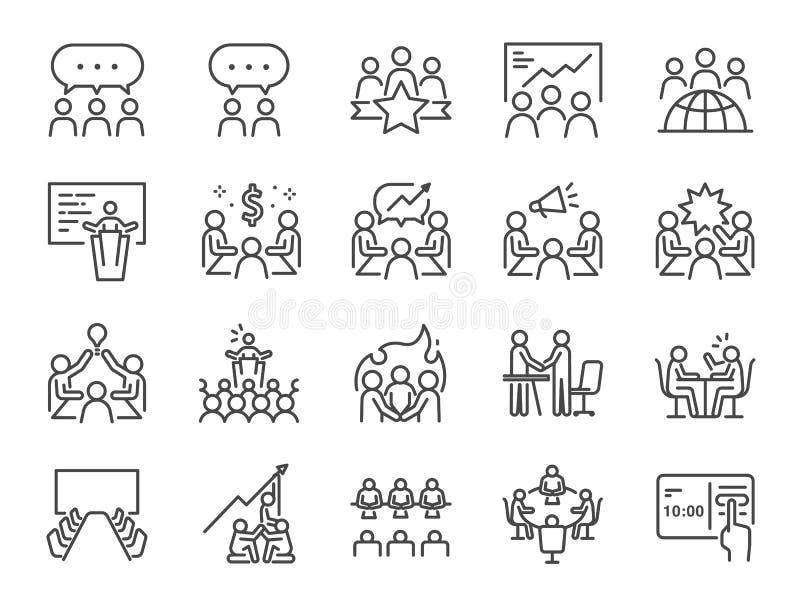 Het pictogramreeks van de vergaderingslijn Inbegrepen pictogrammen als vergaderzaal, team, groepswerk, presentatie, idee, uitwiss stock illustratie